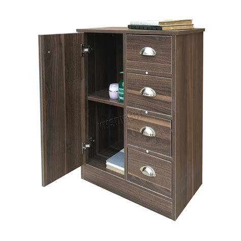 Walnut Bathroom Storage Foxhunter 4 Drawer 2 Shelves Bathroom Storage Cupboard Cabinet Unit Bs03 Walnut Ebay