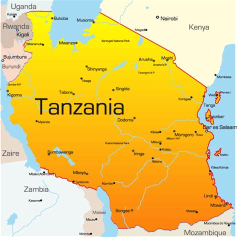 tanzania on the world map tanzania map showing attractions accommodation