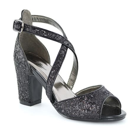 sparkly heeled sandals new womens strappy sandals block low heel sparkly