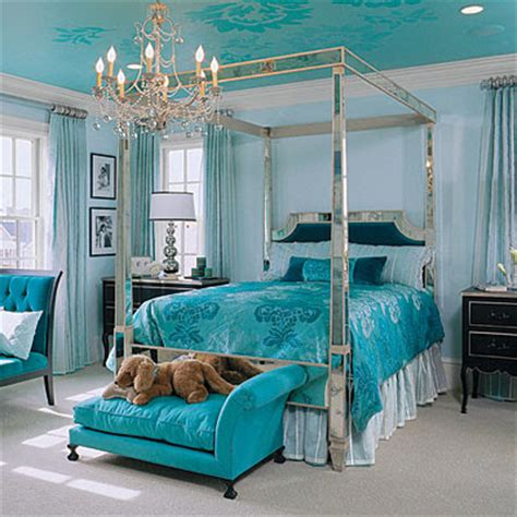 aqua themed bedroom blue theme room decoration