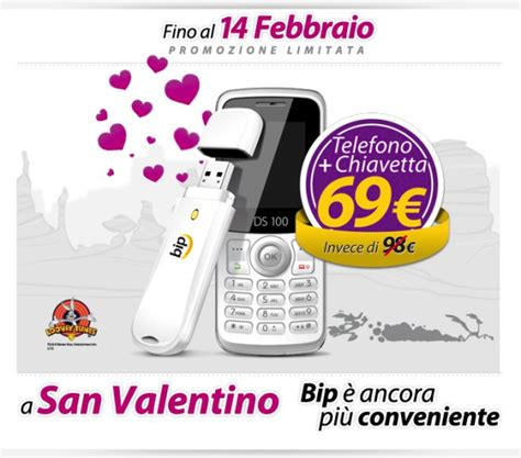 bip bip mobile bip mobile bi pack san valentino con telefono e chiavetta