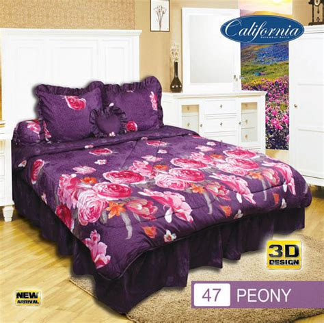 Bedcover California bedcover set king 180x200 california ukuran king set motif peony premium lembut triktravel
