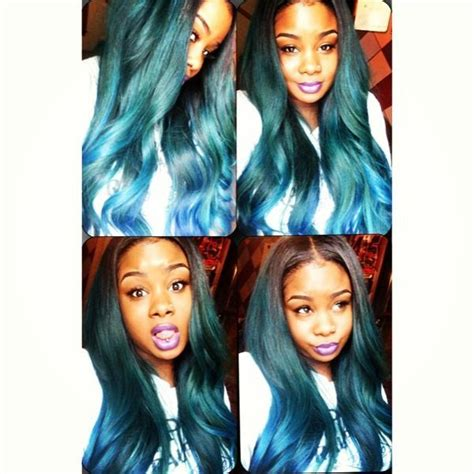 color tip hair weave i want that teal color sew in ideas pinterest too