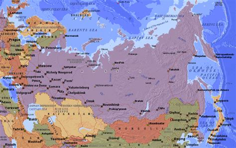 russia political map with cities russia map map