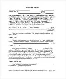 building contractor contract template construction contract 9 documents in pdf