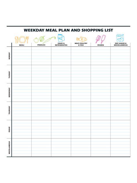 menu planner template   templates   word