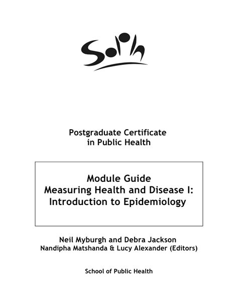 introduction to epidemiology measuring health and disease i introduction to