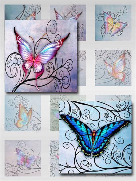 tattoo digital paper butterflies swirls pastel watercolor paper instant