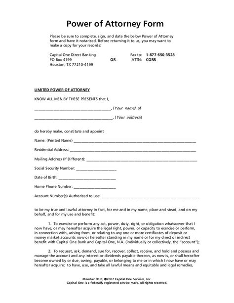 bank power of attorney template power of attorney form