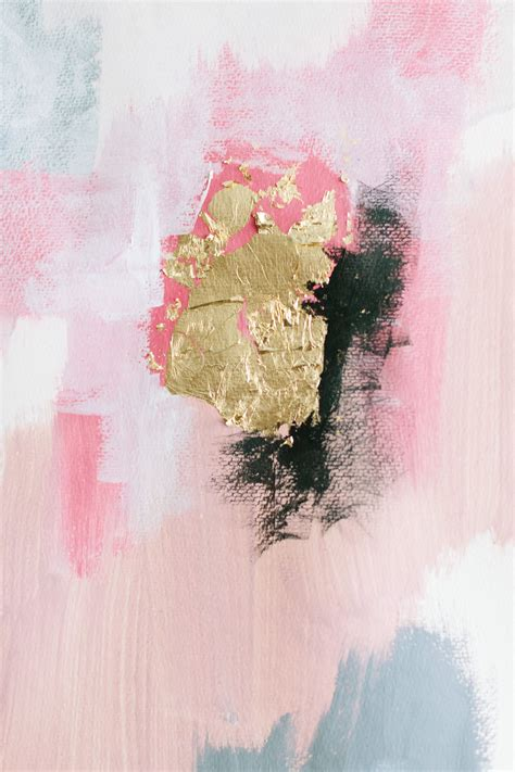 Vbm091 Blue Gold White Grey pink grey white black and gold a painting