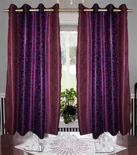 Multi Color Curtains Pack Multi Color Leaf Design Eyelet Curtain