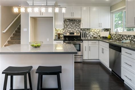 l shaped kitchen design with gray island also black and