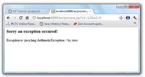 xml tutorial javatpoint exception handling error page in jsp javatpoint