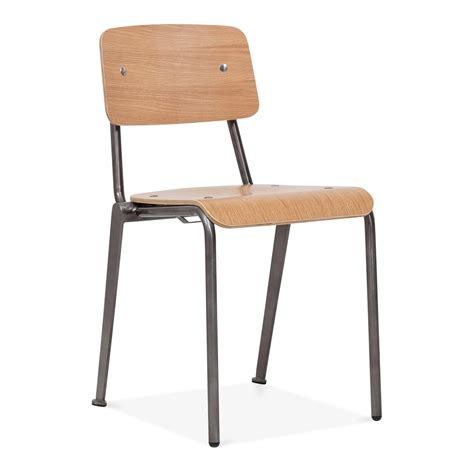 Cult living french school chair in gunmetal with wood option cult uk