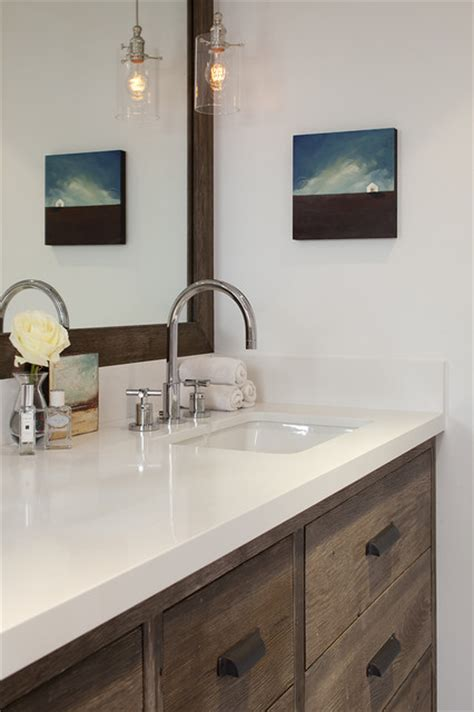 rustic white bathroom dazzling quartz countertops white cabinets to enhance
