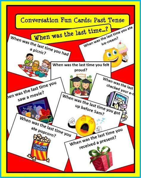 teaching tenses ideas for conversation cards past tense when was the last time you the o jays fun cards and simple