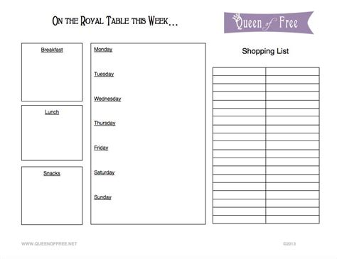 free printable grocery planner monday meal plan 9 1 14 queen of free