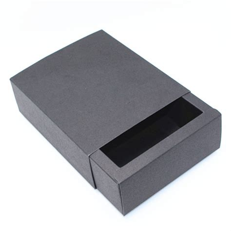 Craft Paper Gift Boxes - black kraft paper drawer box jewelry gift craft paper