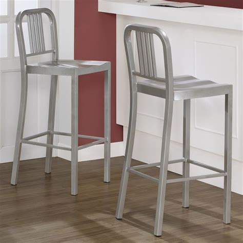 matching bar stools and kitchen chairs silver metal bar stools set of 2 overstock com do