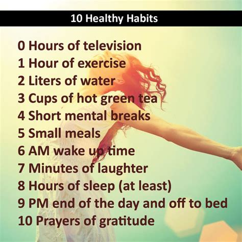 the healthy living handbook simple everyday habits for your mind and spirit books 10 healthy habits 0 hours of television 1 hour of