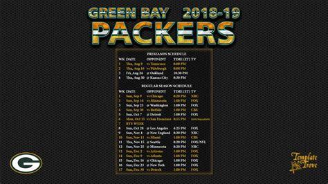 Green Bay Packers Schedule 2018 Printable