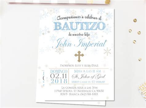invitaciones de bautizo bautismo espanol invitacion gold winter baptism invitation spanish invitaciones bautizo
