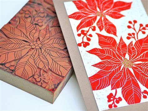 Handmade Prints - handmade card poinsettia