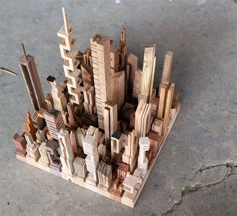 wooden cityscapes sculpted   bandsaw  james