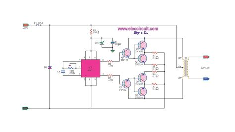 transistor 2n3055 circuit inverter 100w by ic 4047 2n3055 with pcb circuit diagram world