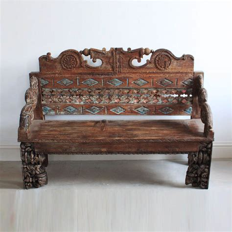 Ornate Carved Wooden Bench Kasakosa Home Decor