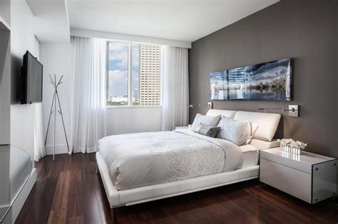 One Bedroom Condo Design Ideas by White Contemporary Bedroom With Gray Wall Hgtv