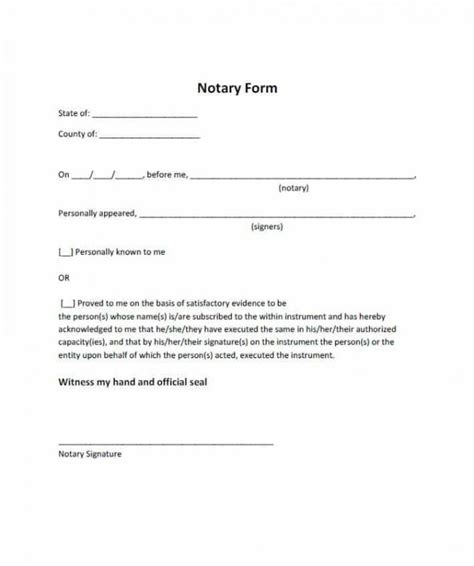 Notarized Letter Format Template Business Notary Signature Template
