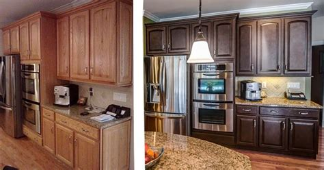 restaining kitchen cabinets before and after painted oak kitchen cabinets before and after before and