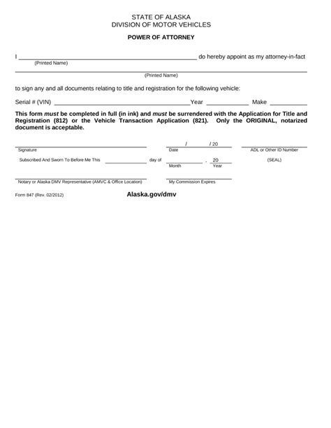 department of motor vehicles forms free alaska dmv power of attorney form 847 pdf