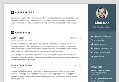 Bootstrap Resume by Free Bootstrap Resume Cv Template For Developers Orbit