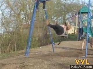 fat girl falls off swing big girl has scary fall off swing on make a gif