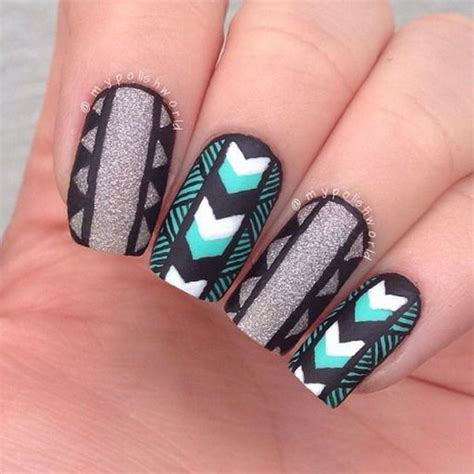 aztec pattern nail art 50 pretty tribal nail art designs noted list