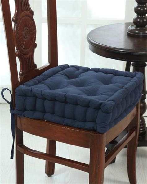 Dining Chair Booster Cushion Cotton Dining Chair Booster Cushion Navy Blue Homescapes