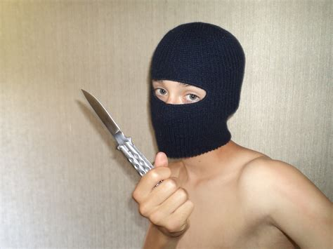 Cool Knife butterfly knife amp new balaclava thats right punk ski
