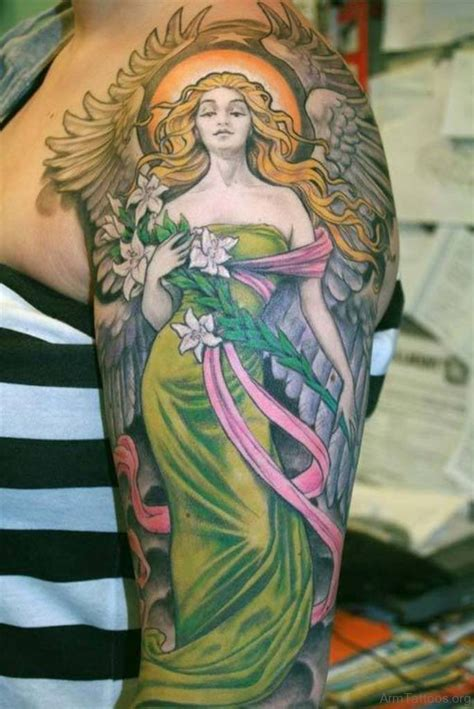 colored angel tattoo 75 beautiful guardian tattoos for arm