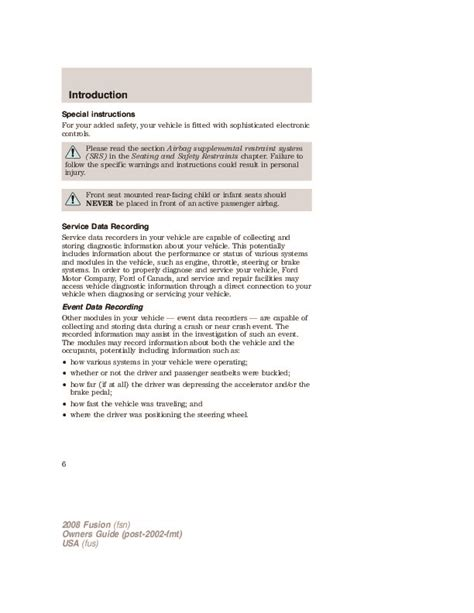 vehicle repair manual 2008 ford fusion user handbook 2008 ford fusion owners manual