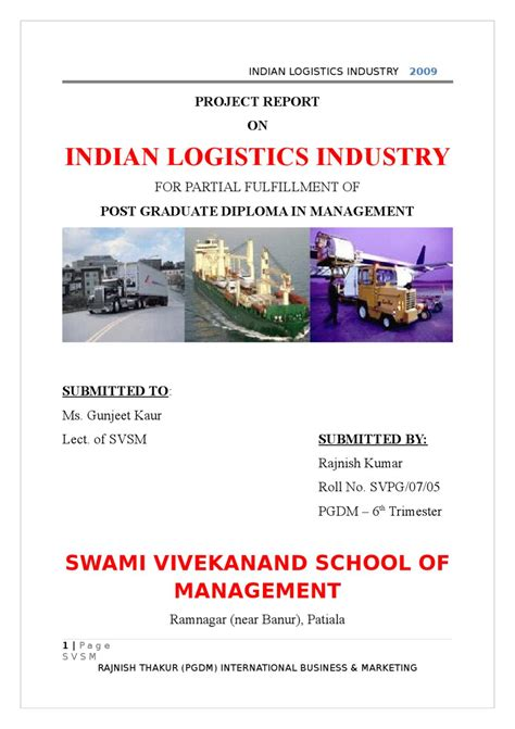 Logistics Mba Project by Project Report On Indian Logistics Industry By Sanjay