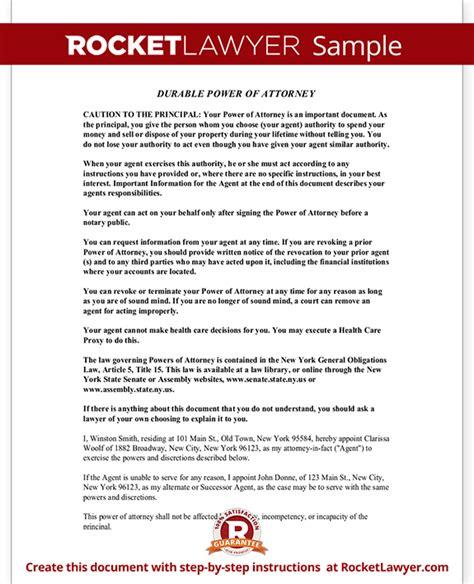Power Of Attorney Form Ny Durable Power Of Attorney Poa New York State Power Of Attorney Template Ny