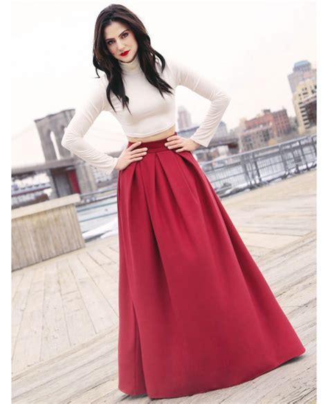 Pleated Full Length Skirt