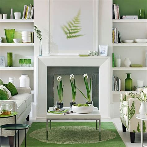 green and white living room living room decorating