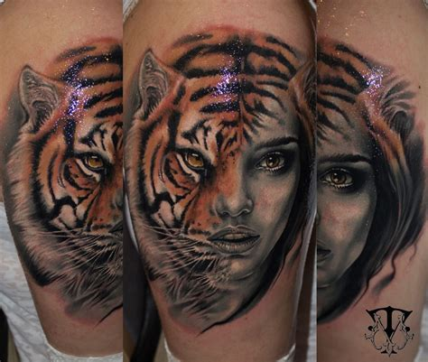 woman face tattoo tiger felines tattoos ideas