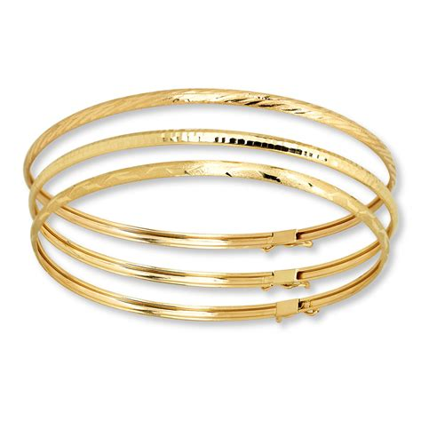 bangle bracelet set 10k yellow gold