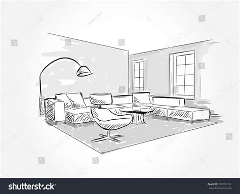 Living Room Interior Sketch Table by Sofa Design Linear Sketch Interior Living Room Plan Stock