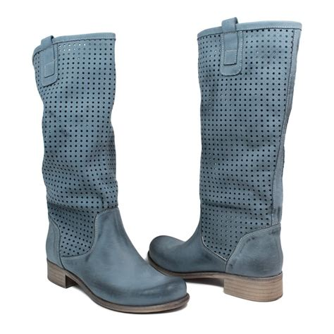 Summer Bootc by High Perforated Summer Biker Boots Leather Blue Made
