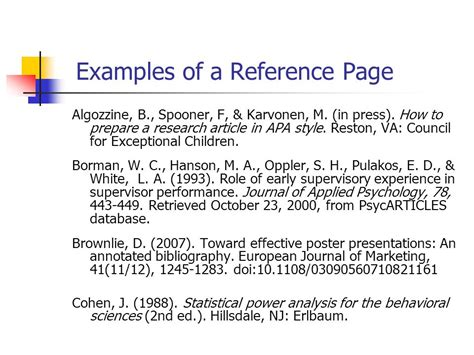 exle of a reference page for a research paper apa style by susan j breakenridge ppt